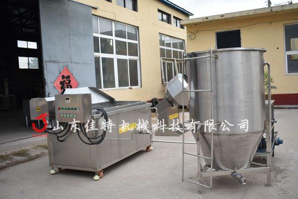 <strong>广东汉堡肉饼油炸机成型油炸连续生产</strong>